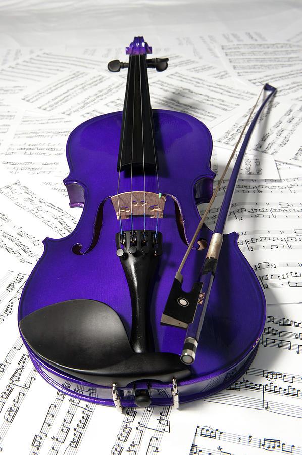 Purple Violin And Music Xi Photograph