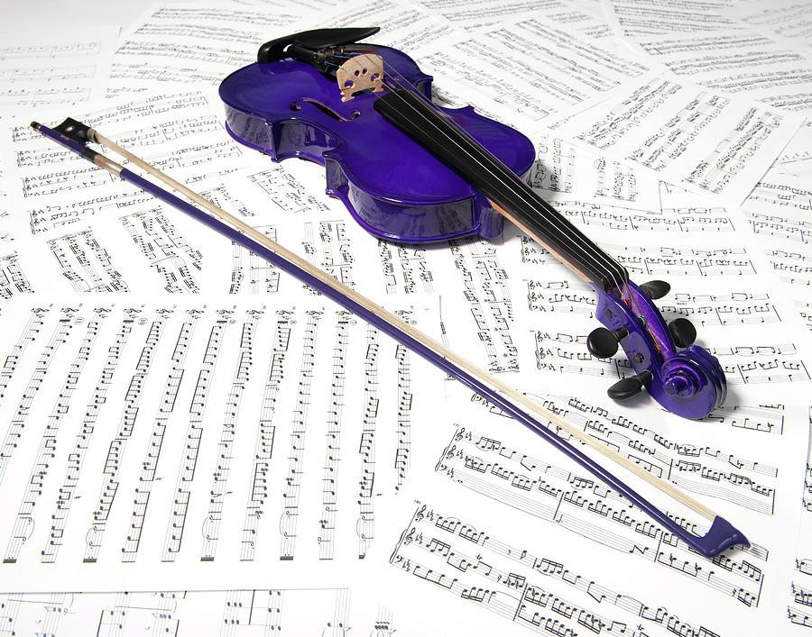 Purple Violin And Music Xiii Photograph