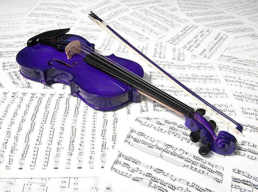 Purple Violin And Music Xiv Photograph