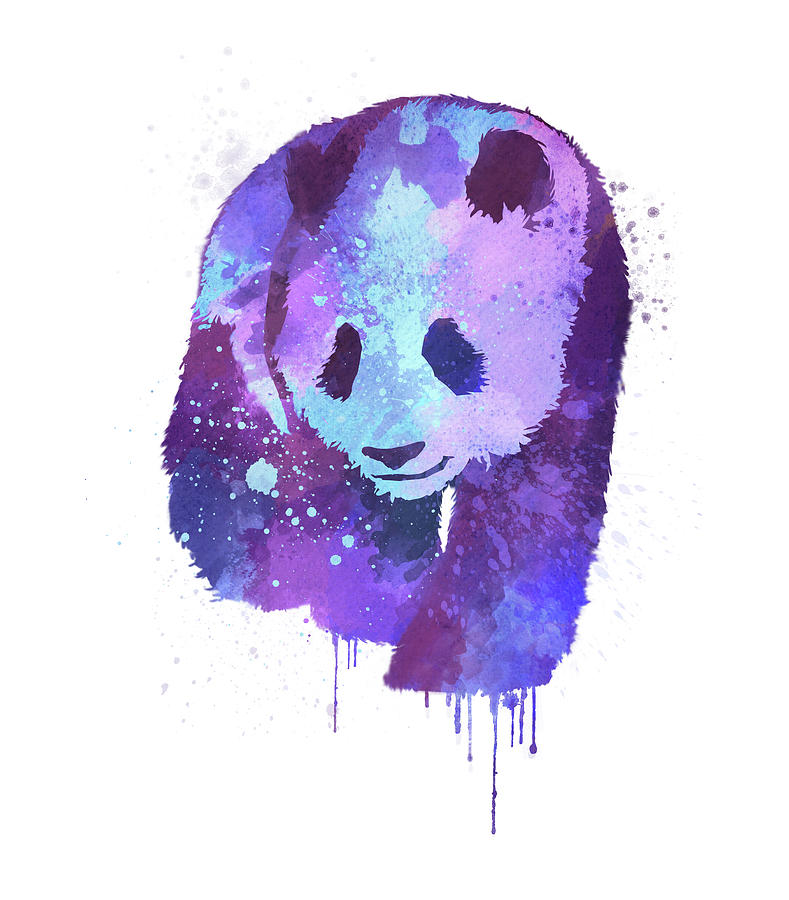 Purple Watercolor Panda Digital Art