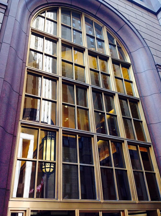 Chicago Golden Purple Window Panes Photograph by Jacqueline Manos