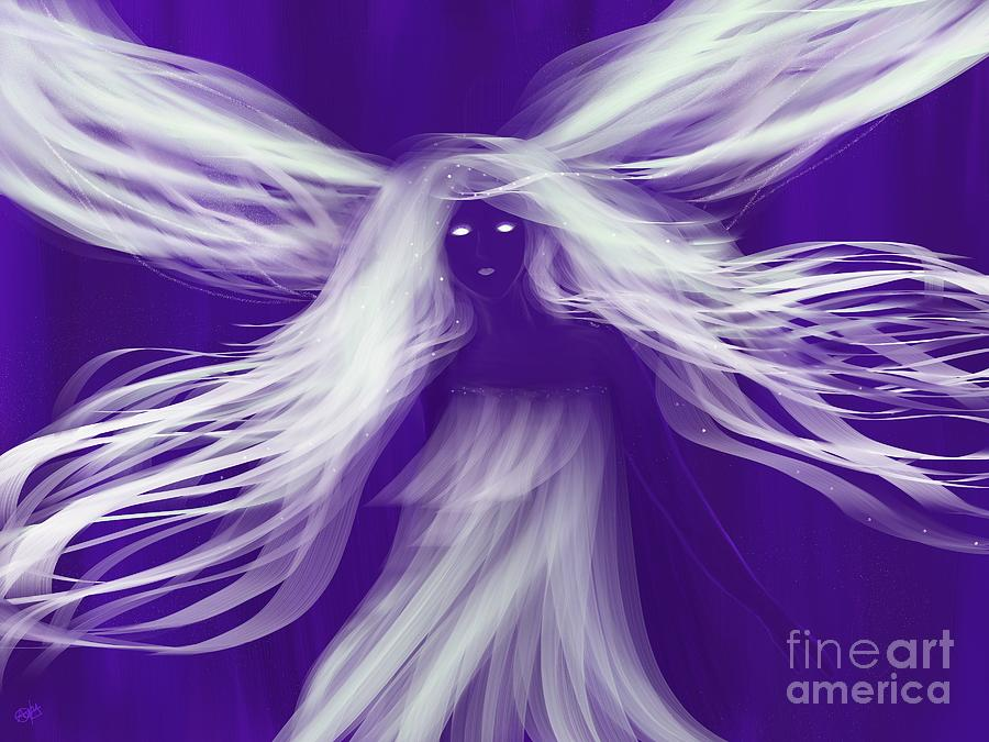 Purple Painting - Purple Woods Faerie by Roxy Riou