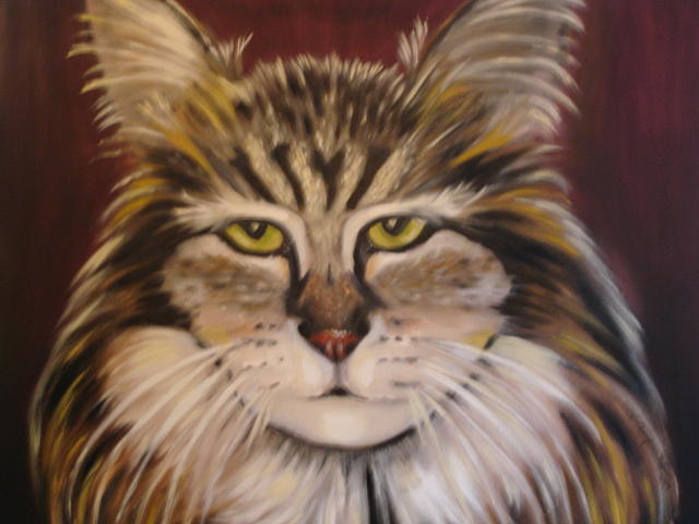 Cat Painting - Purrrrfect by Linda Mungerson