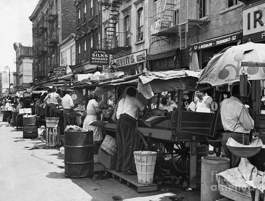 1939 Photograph - Pushcart Market, 1939 by Granger