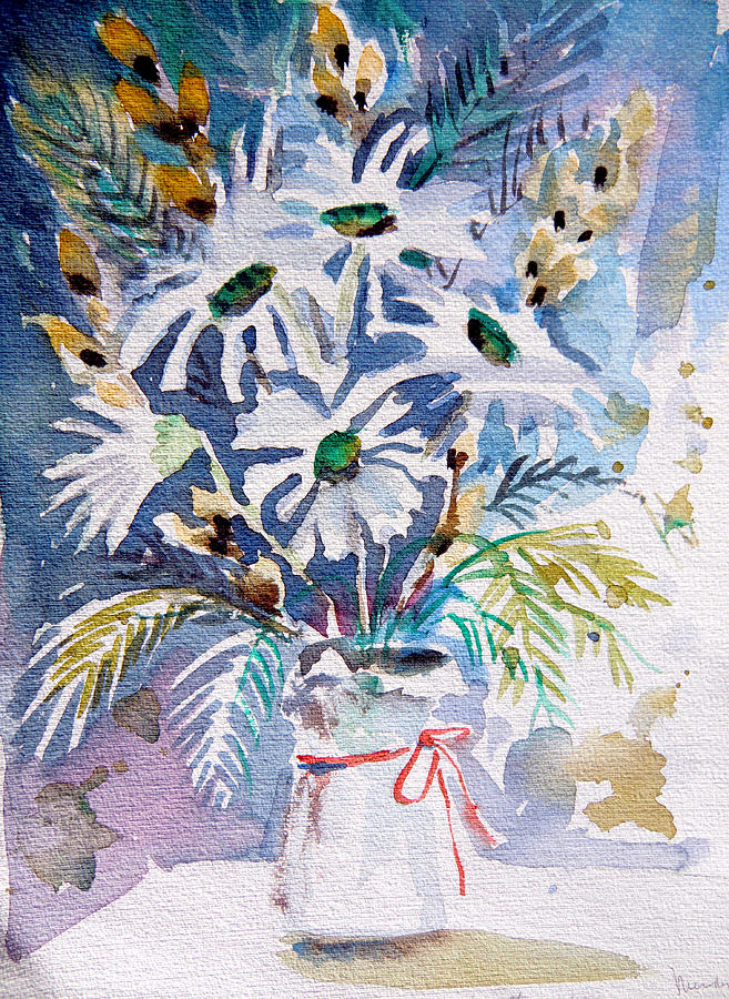 Daisy Painting - Pussy Willow And Daisies by Mindy Newman
