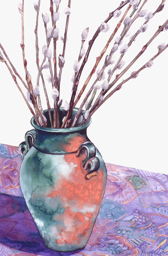 Watercolor Painting - Pussy Willows Bouquet by Caron Sloan Zuger