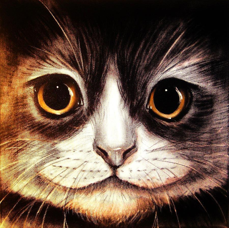 Cat Painting - Pussycat by Anastasis  Anastasi