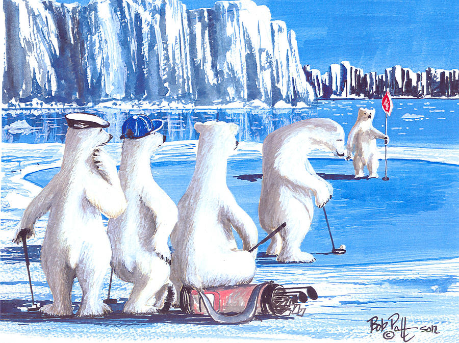 Polar Bears Painting - Putt For Dough by Bob Patterson