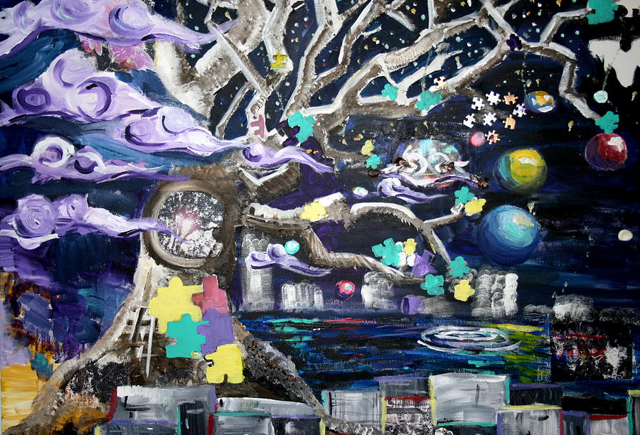 Tree Painting - Puzzled At Night by Casey Jones
