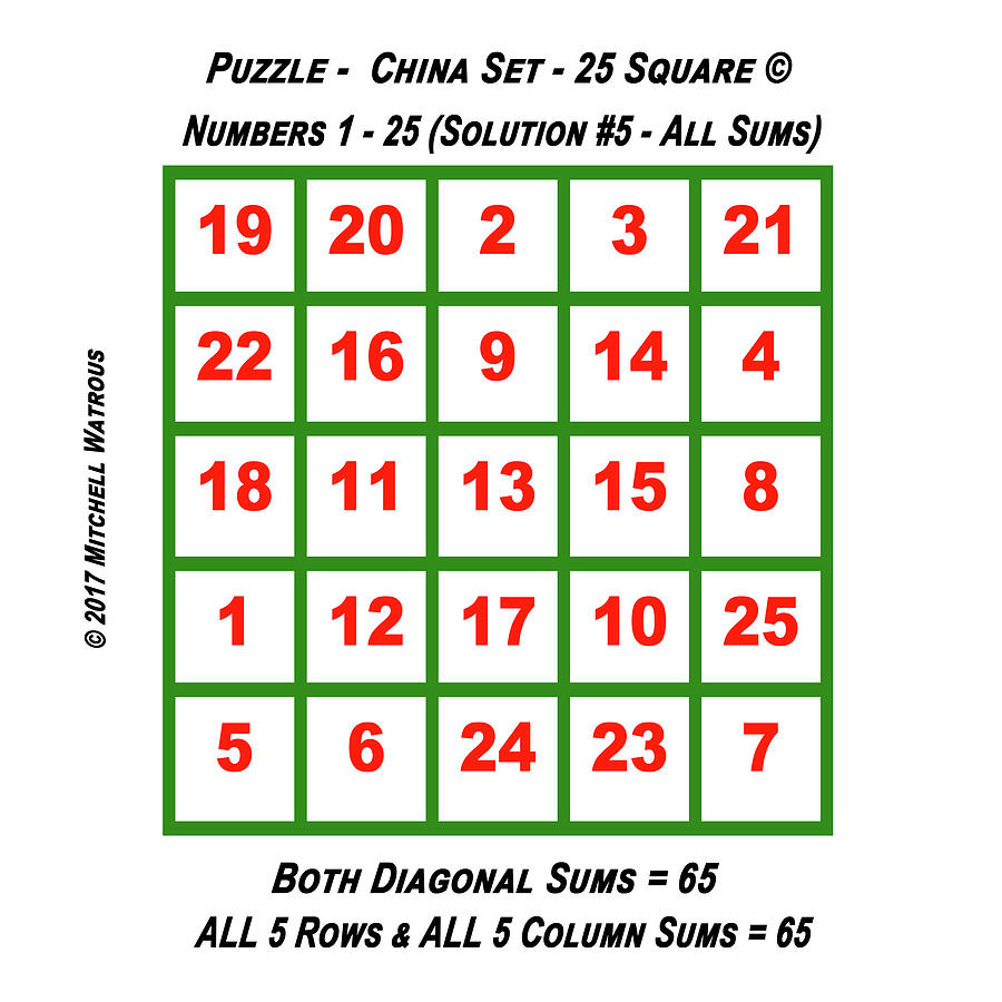 Ancient Digital Art - Puzzles - Magic Square 25 - Solution #5 by Mitchell  Watrous