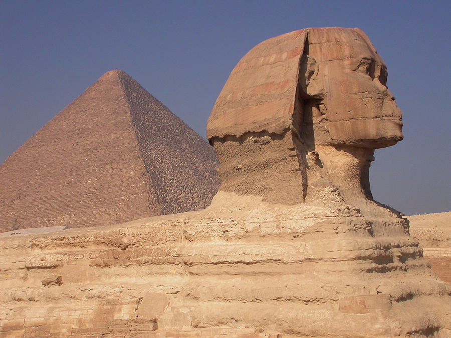 Archeology Photograph - Pyramid And Sphinx by Mary Lane