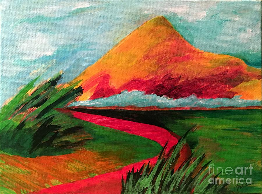 Mountain Painting - Pyramid Mountain by Elizabeth Fontaine-Barr