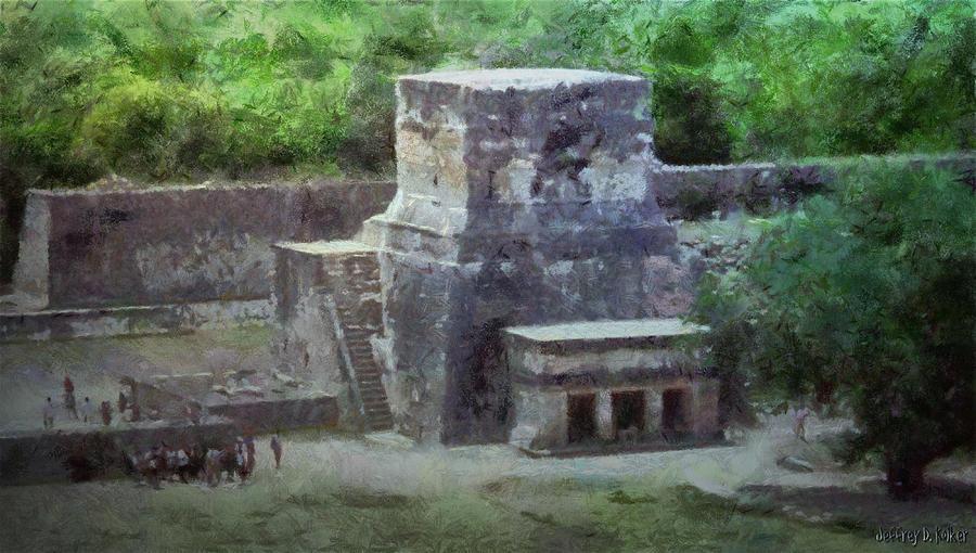 Yucatan Painting - Pyramid View by Jeffrey Kolker