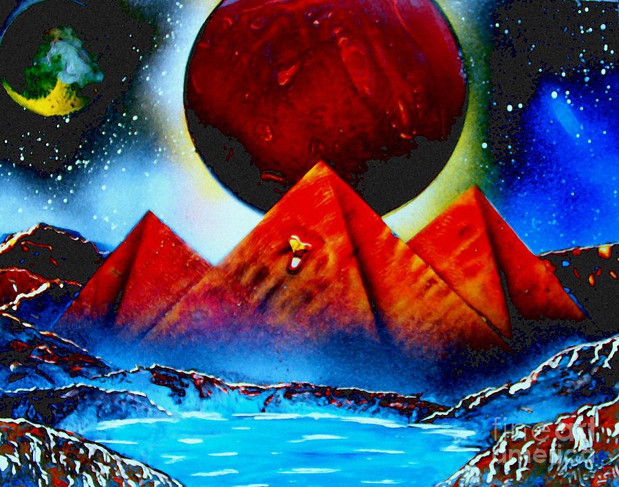 Spray Paint Art Pyramids Planets