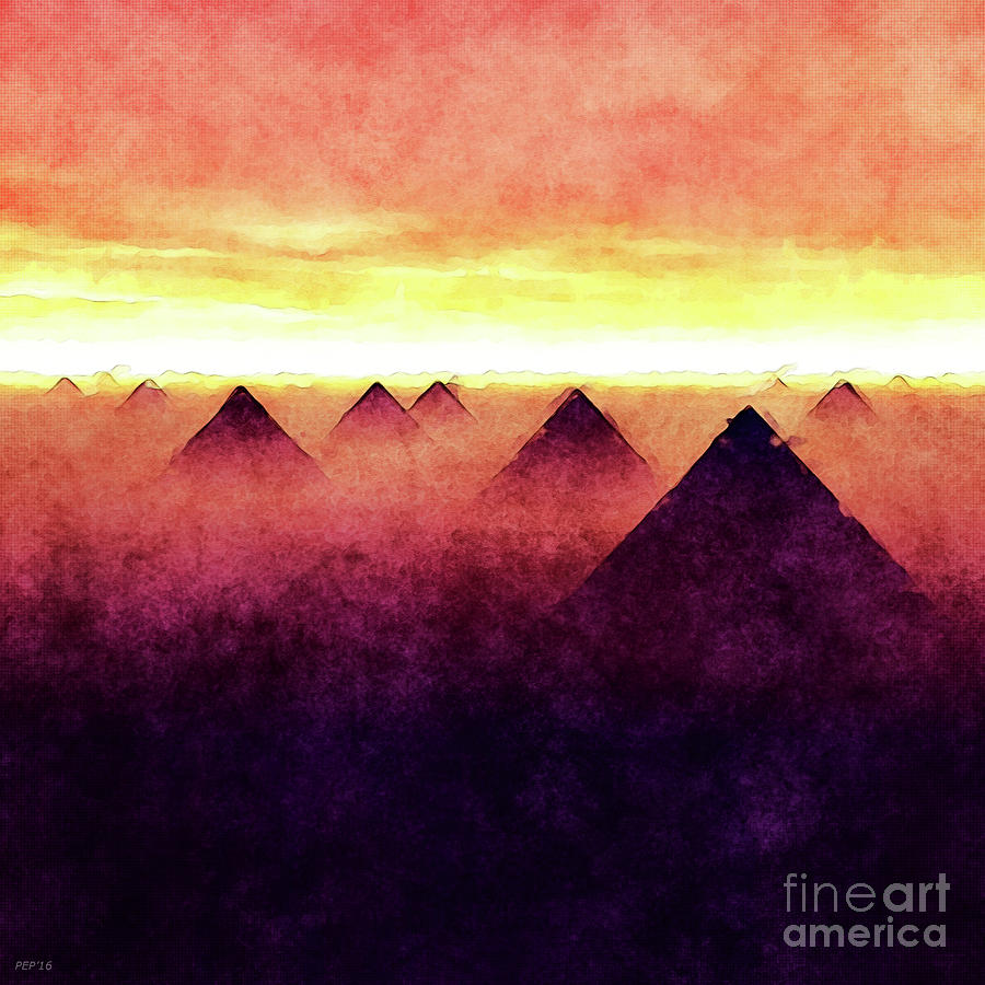 Sunrise Digital Art - Pyramids At Sunrise by Phil Perkins