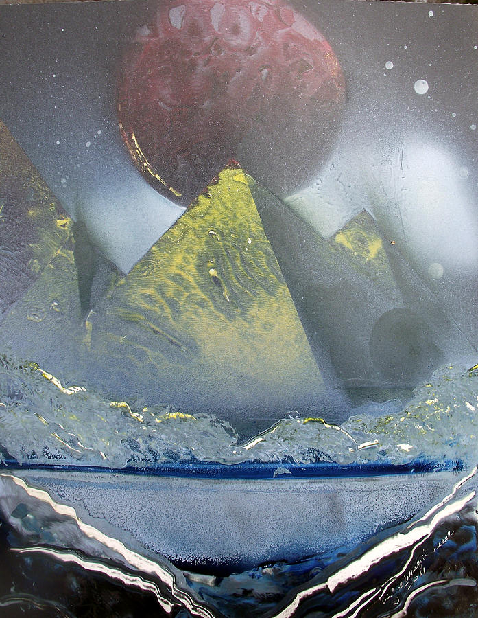 Pyramids Painting - Pyramids Of The Red Moon by Arlene  Wright-Correll