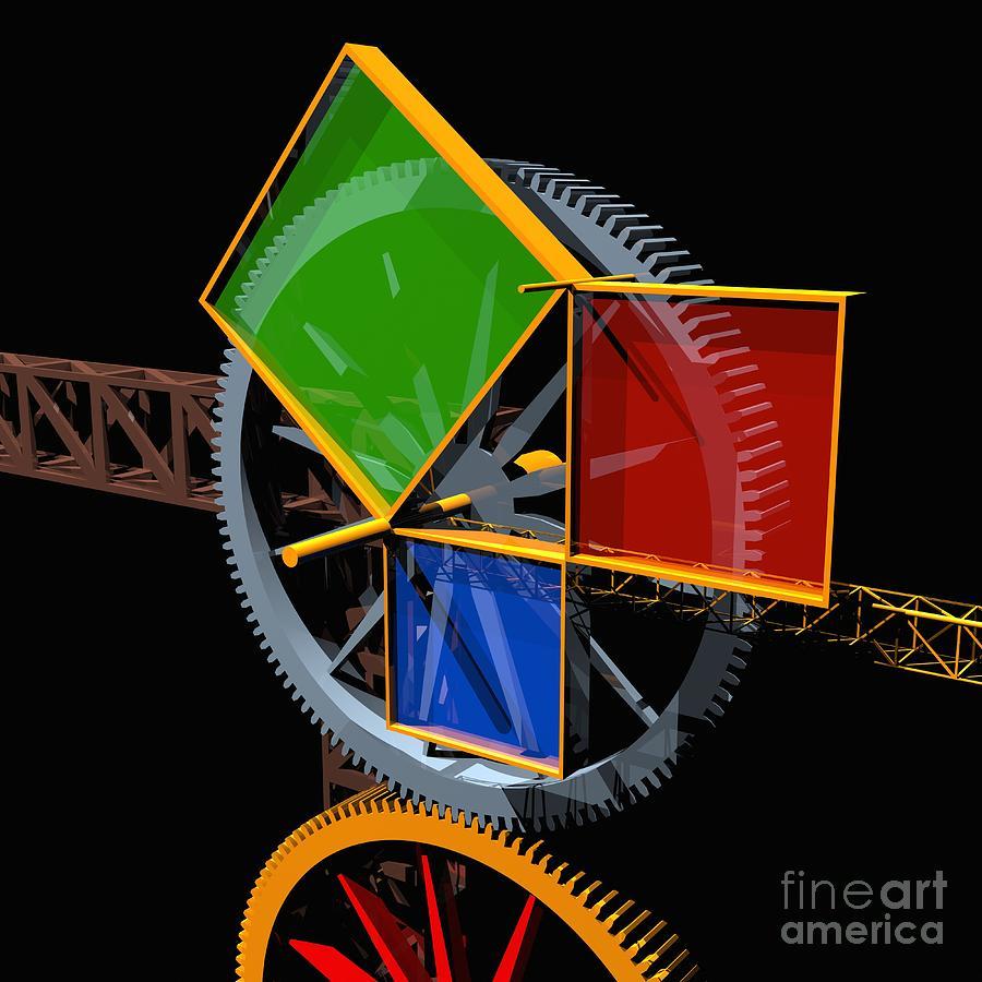 Algebra Digital Art - Pythagorean Machine by Russell Kightley