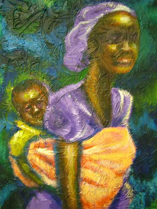 Mother And Child Painting - Q by Jan Gilmore