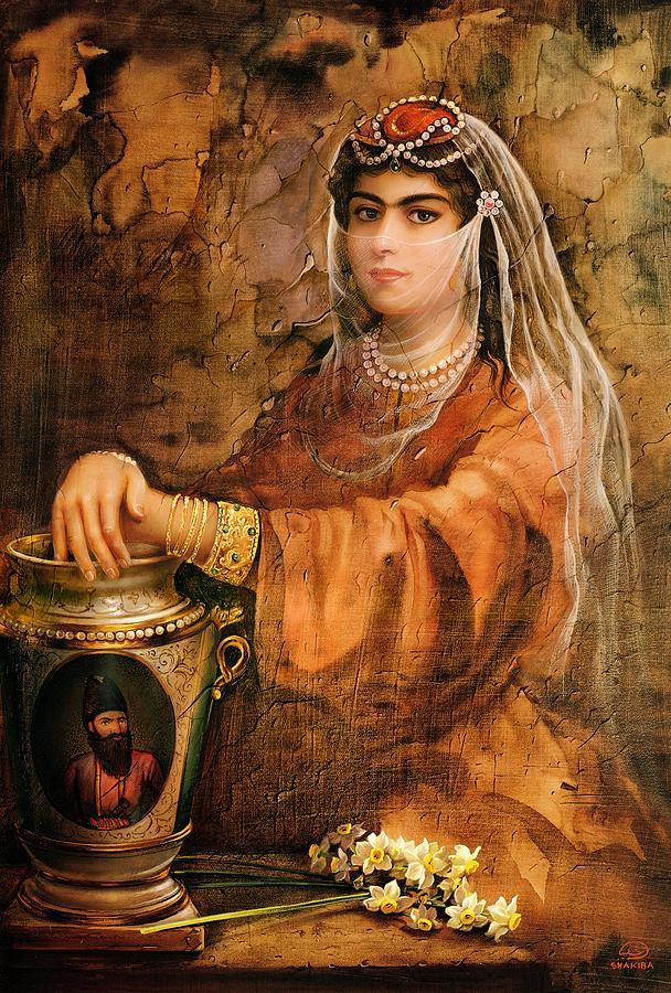 Qajar Woman By Shakiba Gl6 Canvas Print / Canvas Art by Salma