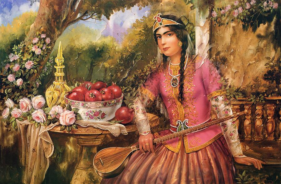 Qajar Woman Painting by Mike Saadat  Qajar Woman Pai...