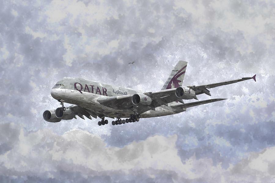 Qatar Photograph - Qatar Airlines Airbus And Seagull Escort Art by David Pyatt