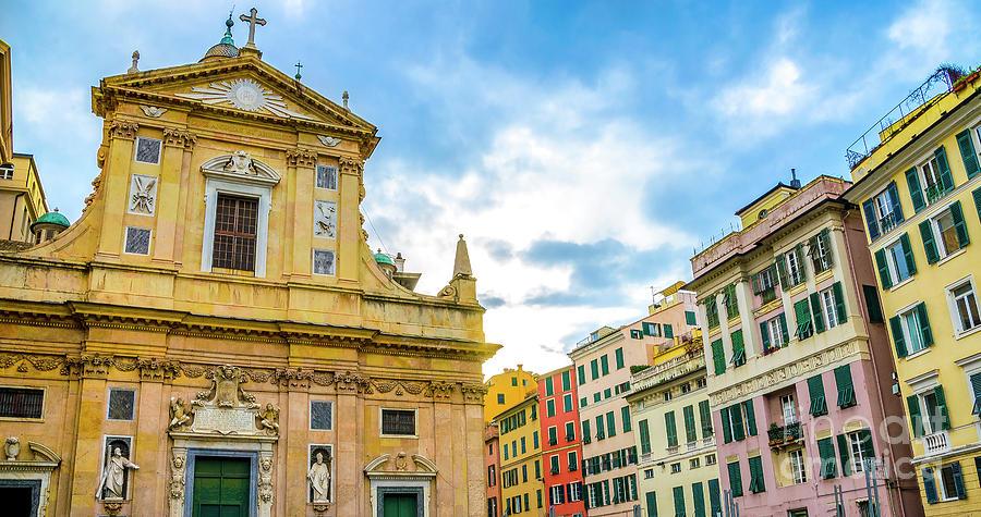 Genova Photograph - quadri di Genova colorful buildings church piazza giacomo matteotti liguria by Luca Lorenzelli