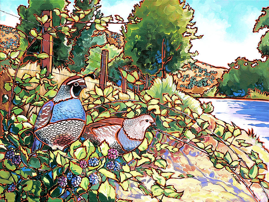 Quail Painting - Quails And Blackberries by Nadi Spencer