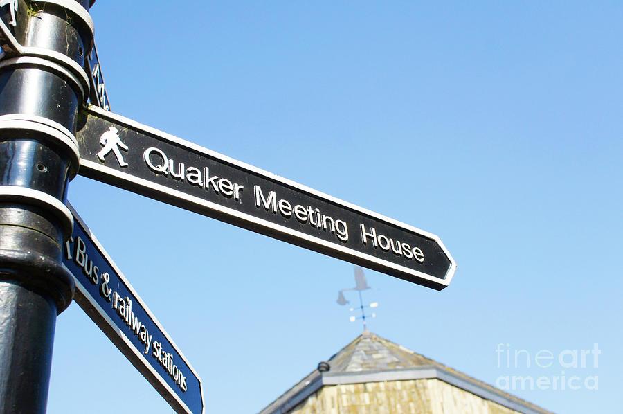 Arrow Photograph - Quaker Meeting House Sign by Tom Gowanlock