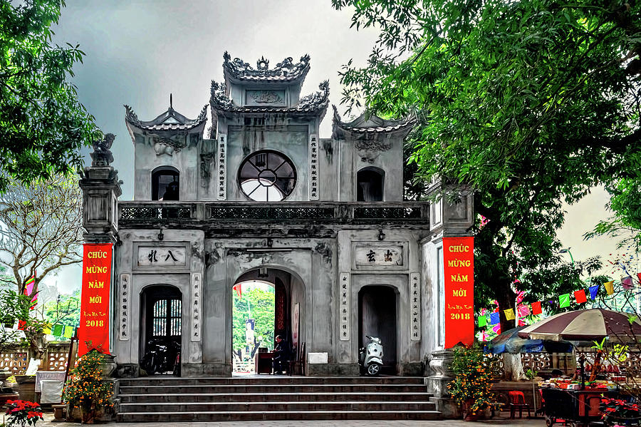 Ancient Photograph - Quan Thanh Temple Gate by Maria Coulson