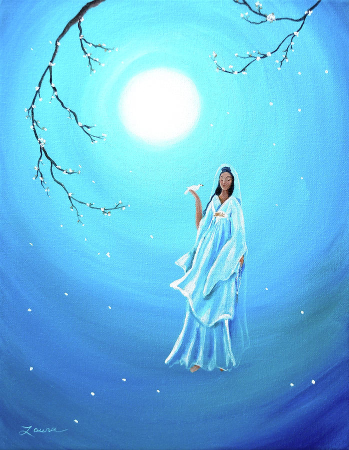 Quan Yin Painting - Quan Yin In Teal Moonlight by Laura Iverson