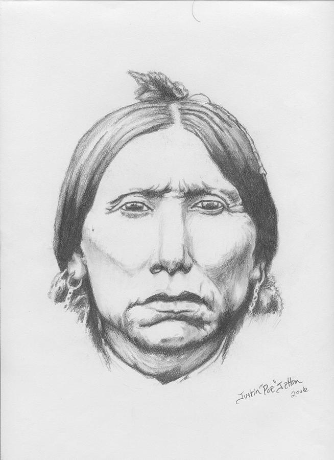 Portrait Drawing - Quanah Parker by Justin Jetton