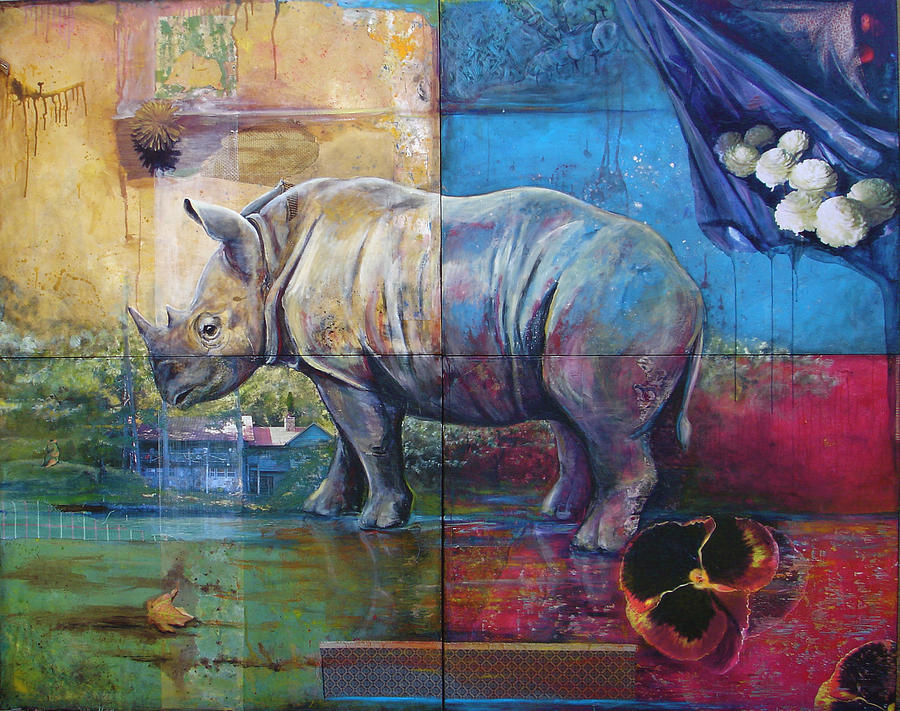 Rhino Painting - Quartet  Rhino by Linda Mitchell