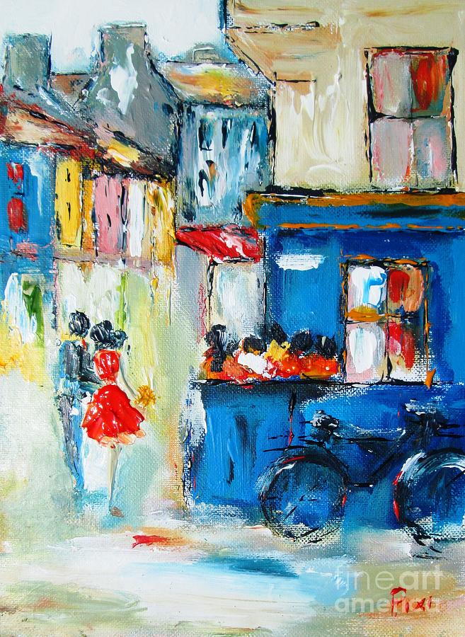 Galway Painting - Quay Street Galway Ireland As A Signed And Numbered Print On Canvas  by Mary Cahalan Lee- aka PIXI