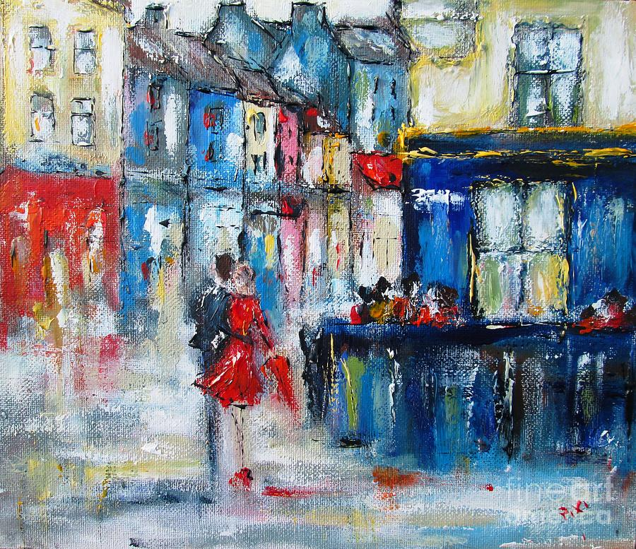 Galway Painting - Quay  Street Galway Ireland by Mary Cahalan Lee- aka PIXI