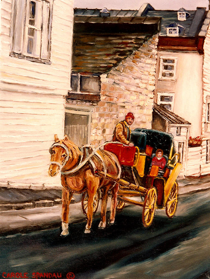 Quebec City Painting - Quebec City Carriage Ride by Carole Spandau