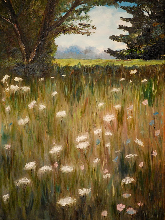 Field Painting - Queen Anne Lace by Phil Burton
