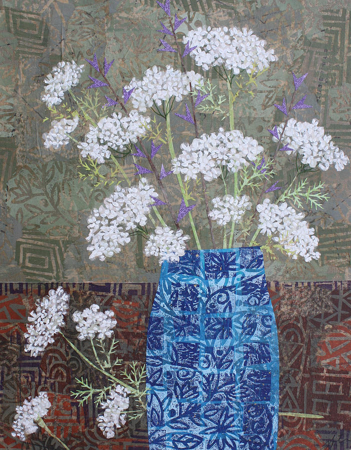 Art Collage Mixed Media - Queen Annes Lace In Blue Vase by Janyce Boynton