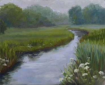 Landscape Painting - Queen Annes Lace In The Marsh by Jan Blencowe