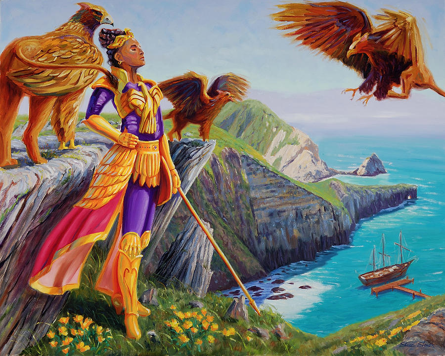 Queen calafia of california painting by steve simon for Oil paintings for sale amazon