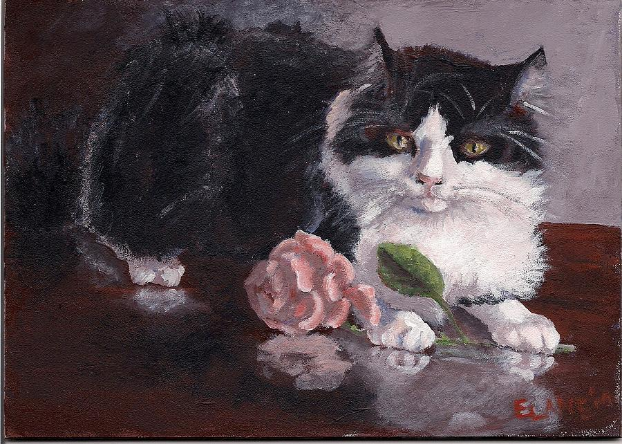 Black And White Cat Painting - Queen For A Day by Elizabeth Lane