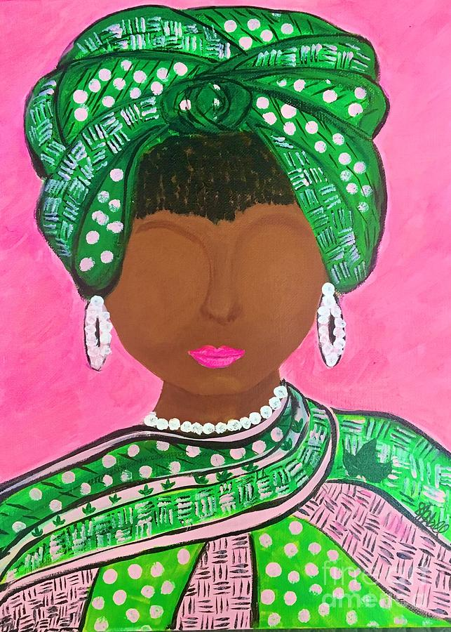 Pink And Green Painting - Queen Ivy by Sheila J Hall