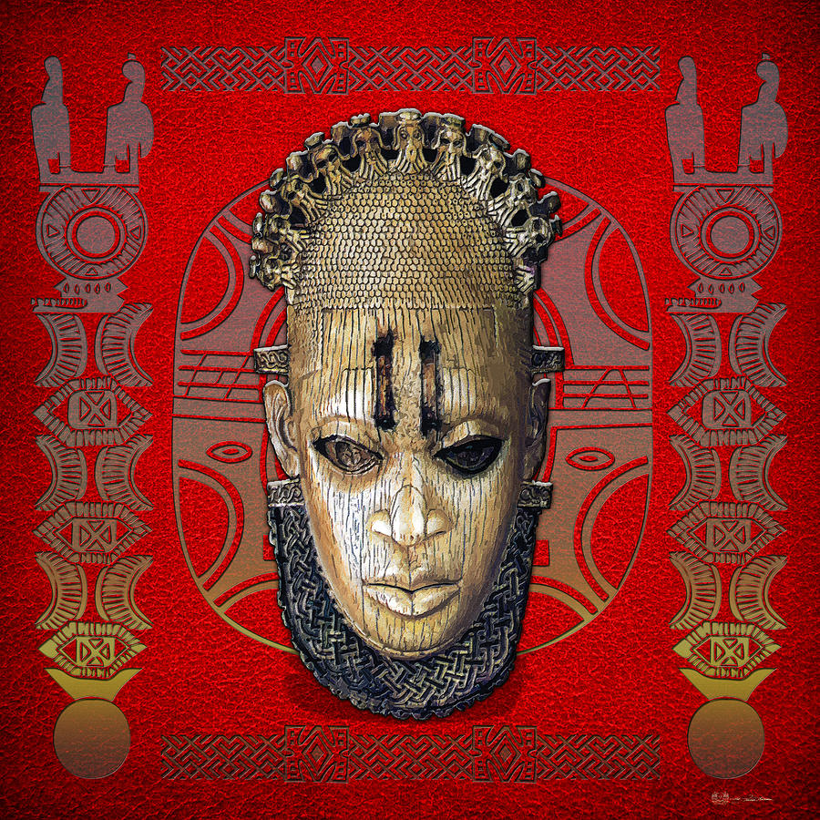 African Digital Art - Queen Mother Idia - Ivory Hip Pendant Mask - Nigeria - Edo Peoples - Court Of Benin On Red Leather by Serge Averbukh