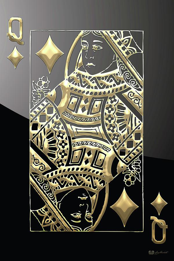 Queen Of Diamonds In Gold On Black Digital Art By Serge
