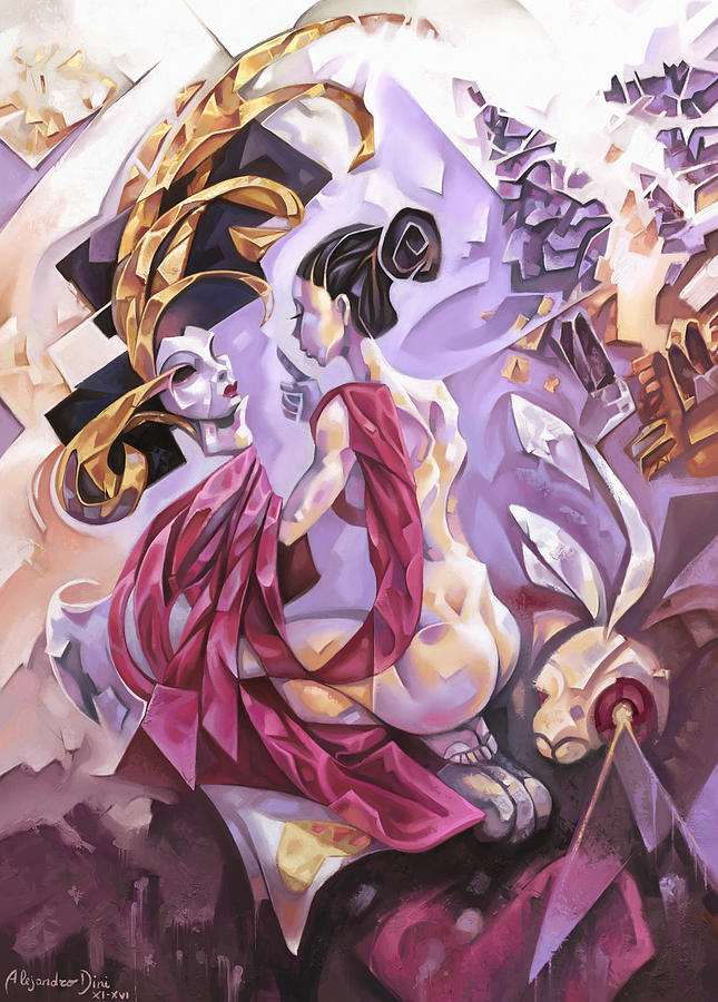 Lady Painting - Queen of Hearts by Alejandro Dini