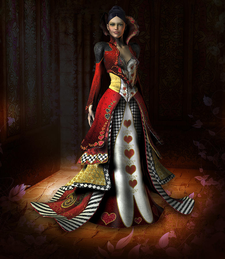Fantasy Illustration Digital Art - Queen Of Hearts by David Griffith