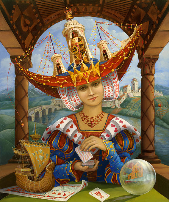 Portret Painting - Queen of Hearts by Marina Bare