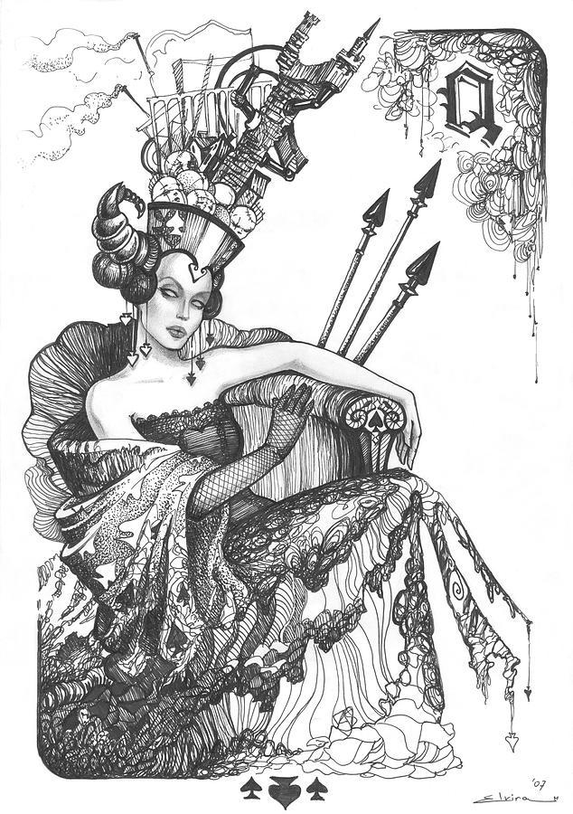 Queen Of Spades Drawing By Elvira Yagudina