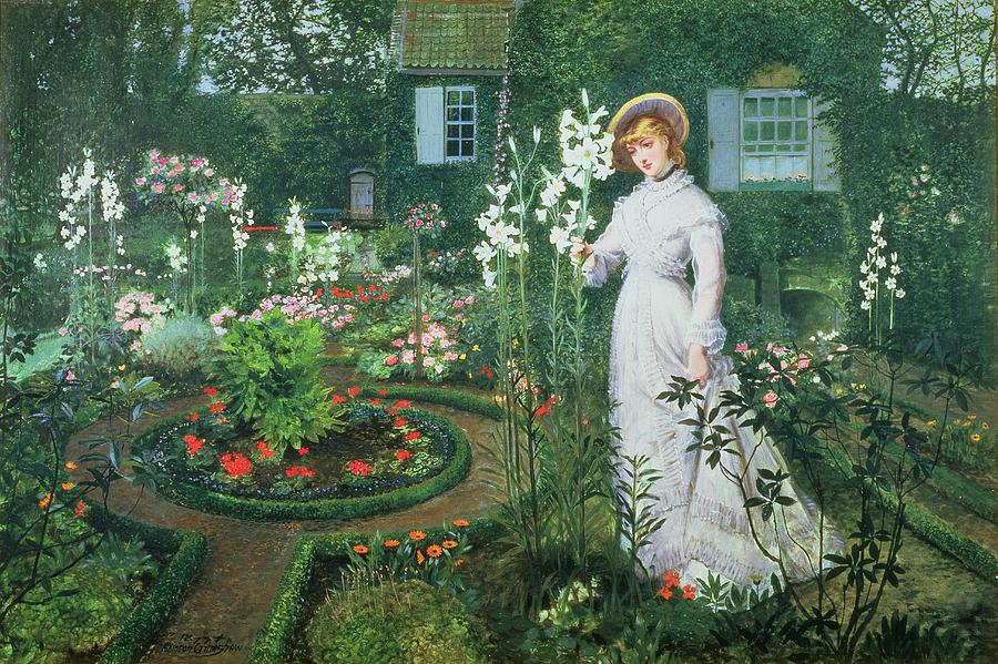 The Painting - Queen Of The Lilies by John Atkinson Grimshaw