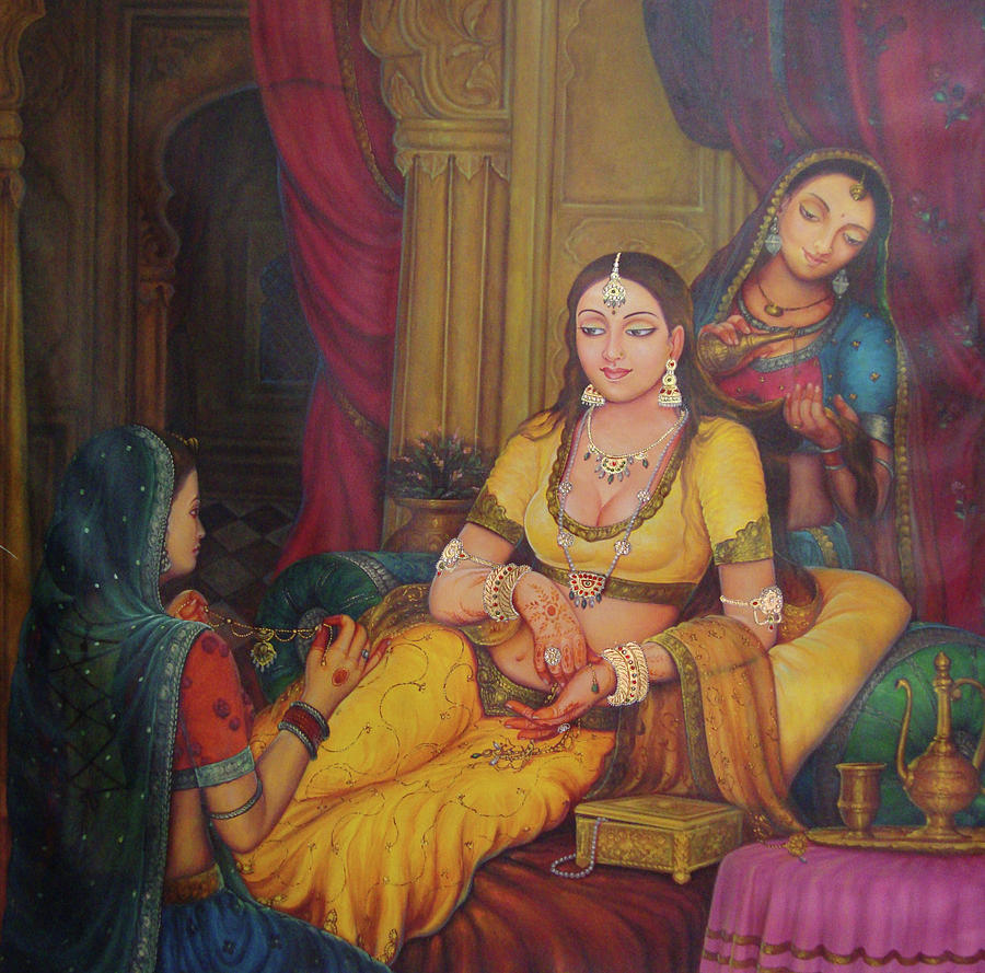 Queen Princess Sitting  Dressing From Her Maids Kaneej  Royal Art Oil Painting On Canvas Painting by A K Mundra