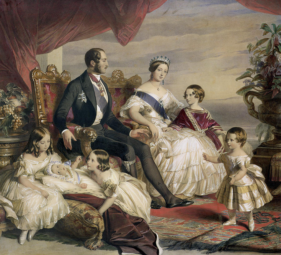 Queen Victoria And Prince Albert With Five Of The Their